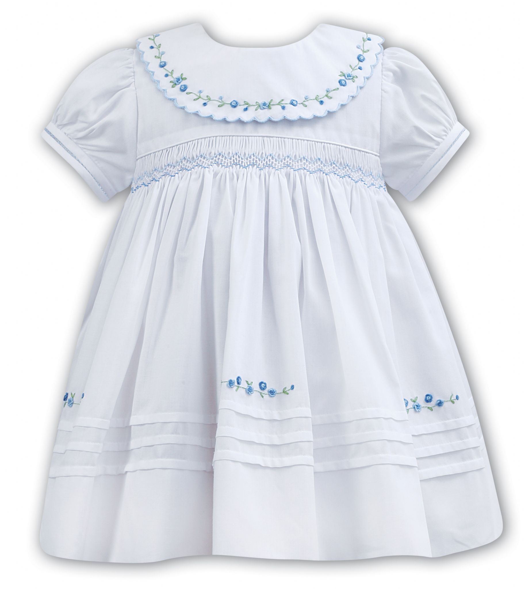 49499306e Sarah Louise White and Blue Flower Dress